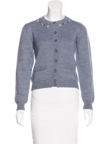 D&G Embroidered Rib Knit Cardigan None