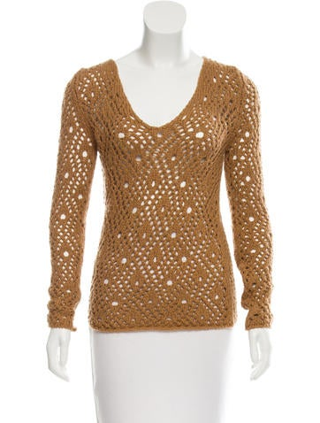 D&G Open Knit V-Neck Sweater None