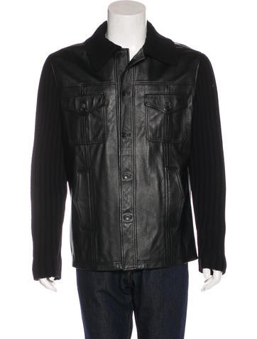D&G Rib Knit Leather Jacket None