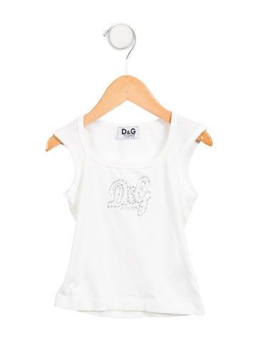 D&G Girls' Embellished Logo Top None