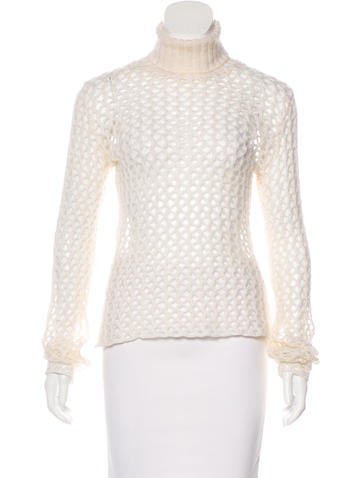 D&G Open-Knit Turtleneck Sweater None