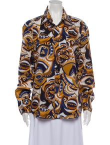D&G Printed Long Sleeve Button-Up Top