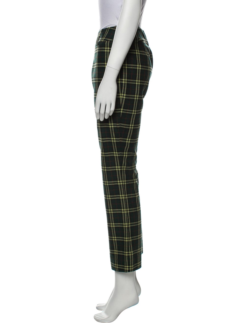 D&G Plaid Print Straight Leg Pants Green - image 2