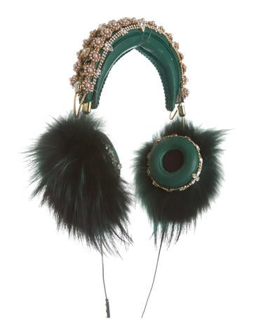 2015 Embellished Fur-Accented Headphones