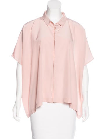 Diane von Furstenberg Silk Dolman Sleeve Button-Up None