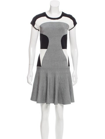 Diane von Furstenberg Knit Colorblock Mini Dress None