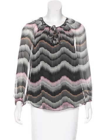 Diane von Furstenberg Silk Long Sleeve Blouse None