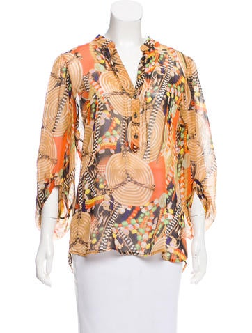 Diane von Furstenberg Printed Long Sleeve Top None