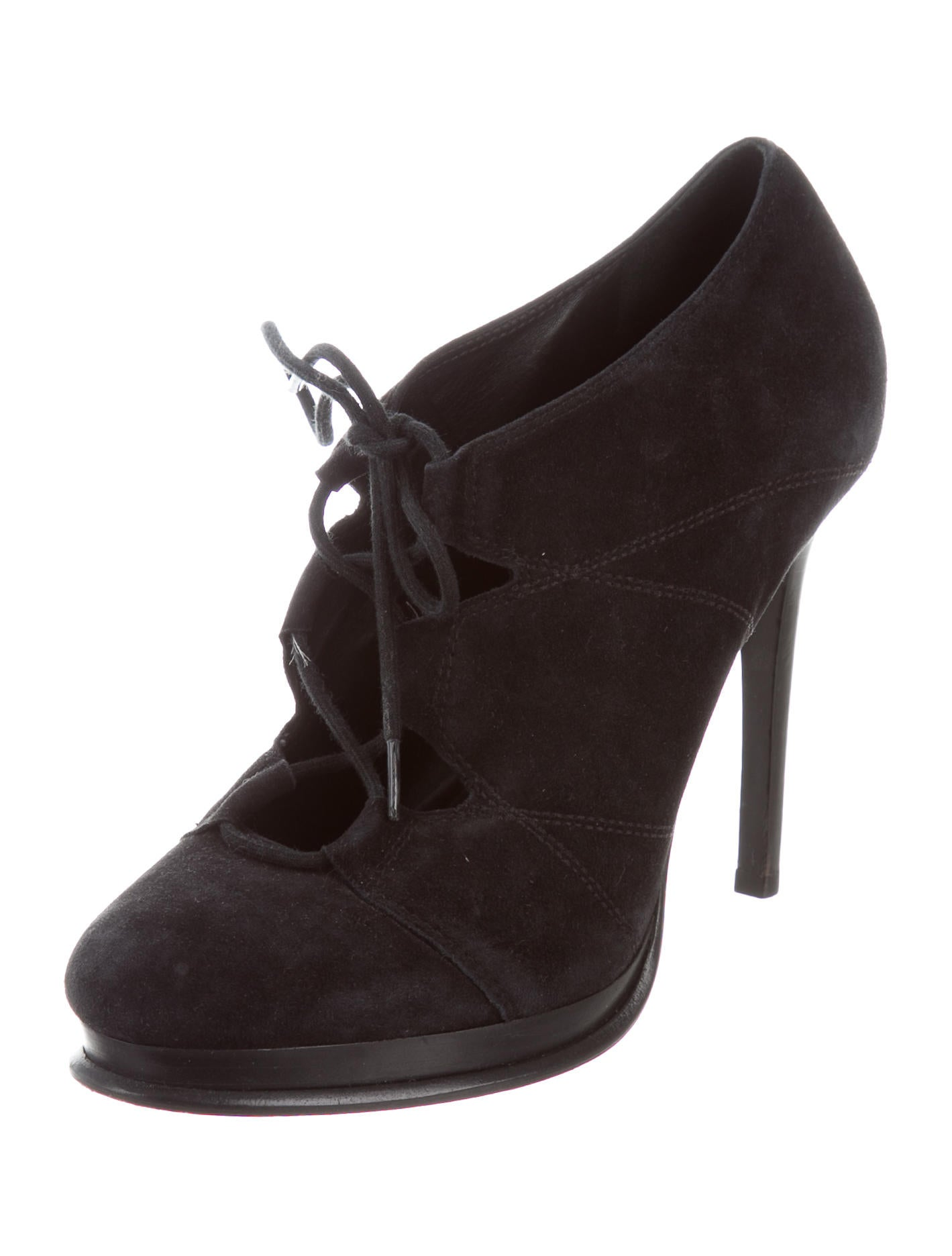 diane furstenberg suede lace up booties shoes