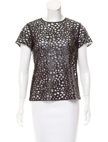 Diane von Furstenberg Laser Cut Short Sleeve Top None