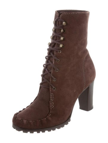 diane furstenberg suede lace up ankle boots shoes