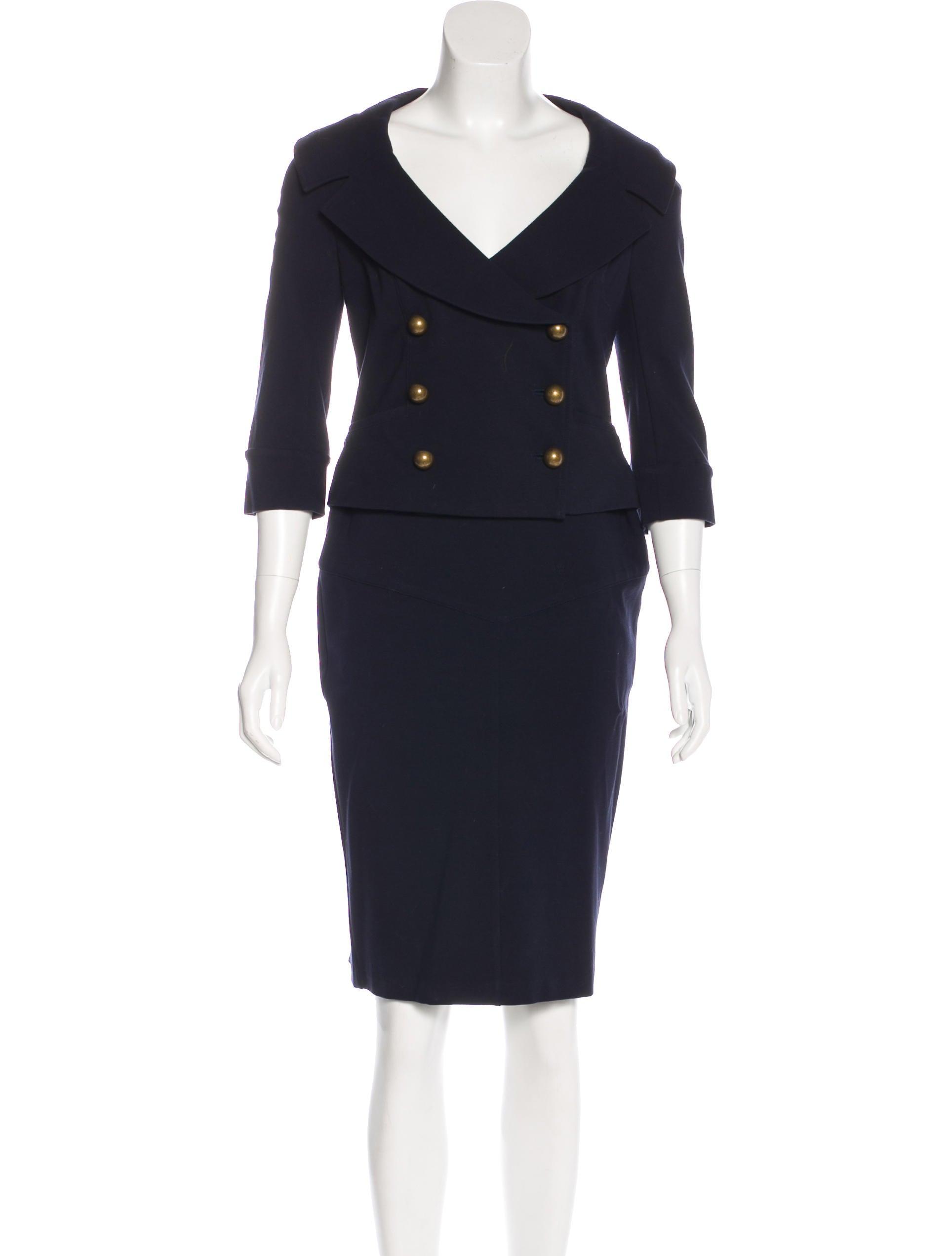diane furstenberg notch lapel pencil skirt suit