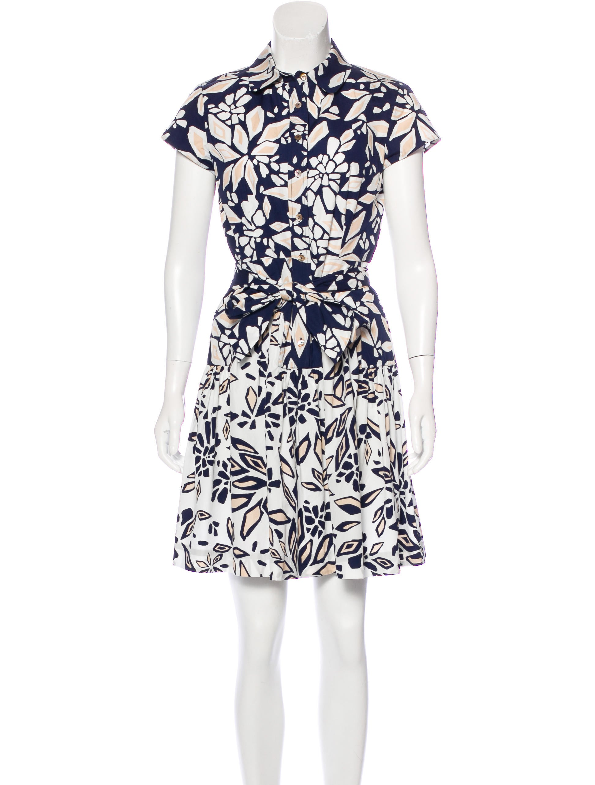 Diane Von Furstenberg Floral Print Button Up Dress