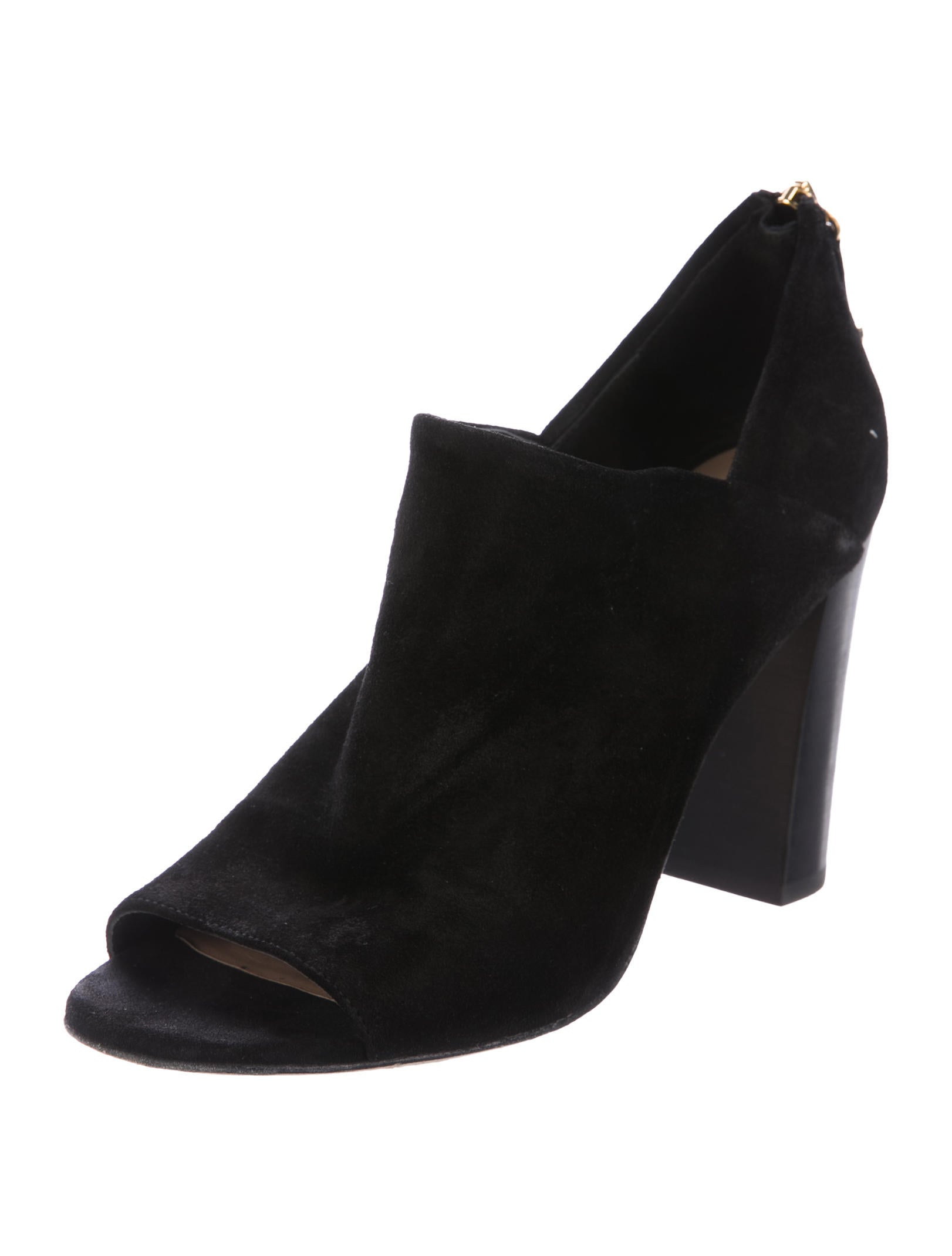 diane furstenberg peep toe suede ankle boots shoes