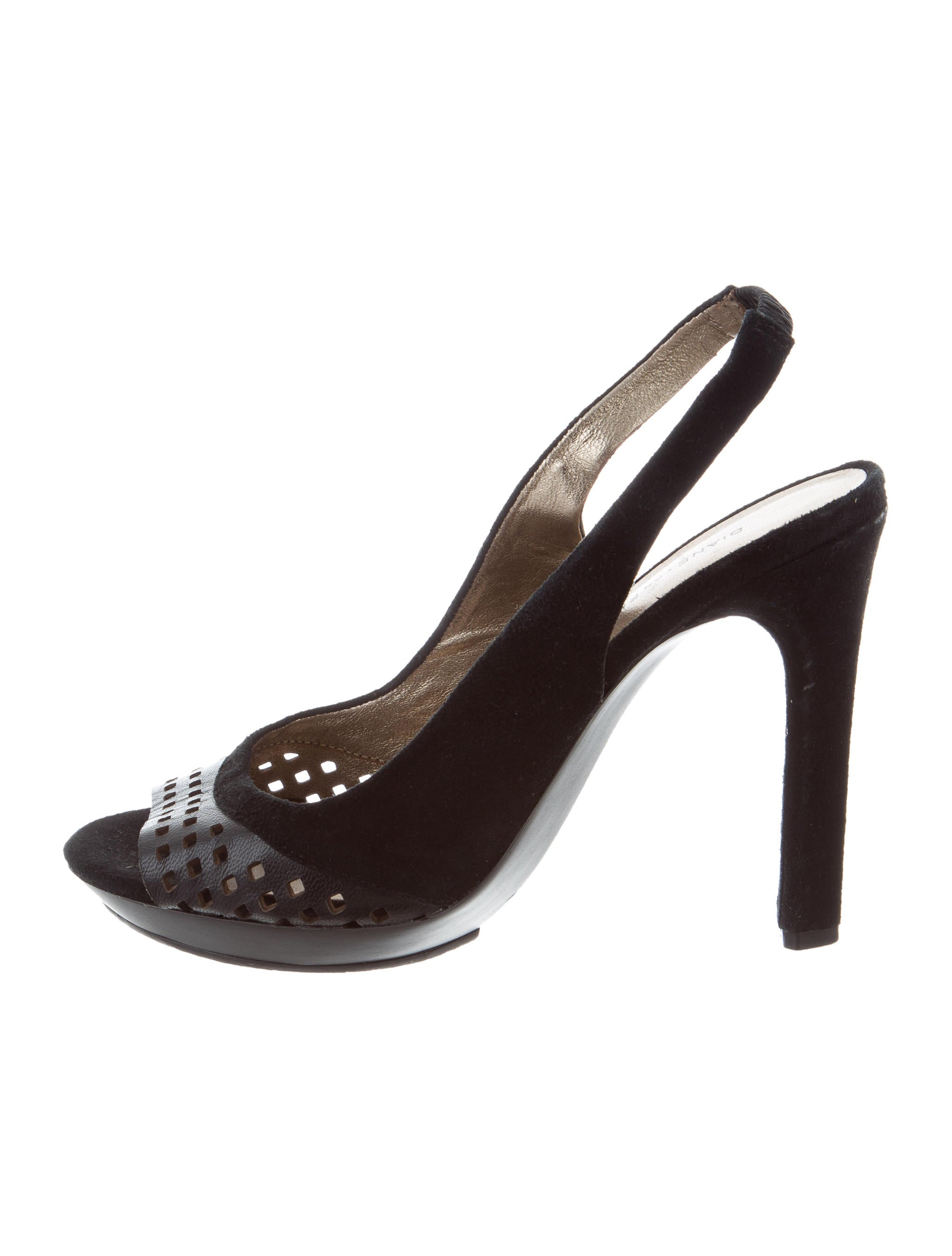 Diane von Furstenberg Perforated Peep-Toe Slingbacks purchase cheap price excellent cheap price outlet sale exclusive MtAFw