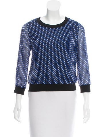 Diane von Furstenberg Knit-Trimmed Printed Top None