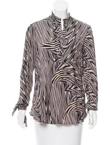 Diane von Furstenberg Printed Silk Top None
