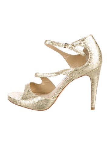 Diane von Furstenberg Embossed Metallic Sandals discount huge surprise footlocker online free shipping cheap quality perfect cheap price outlet factory outlet s84Ce