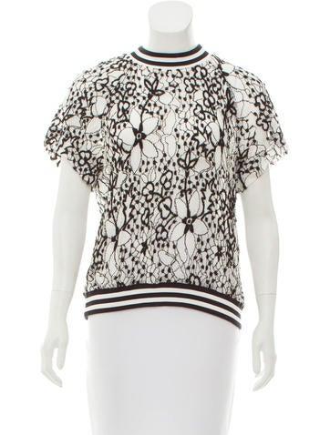 Diane von Furstenberg Lace Knit Top None