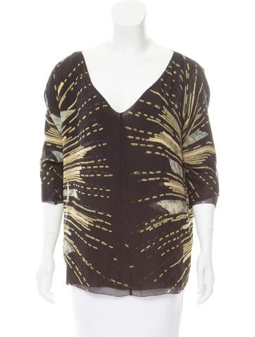 Diane von Furstenberg Printed Silk Top None
