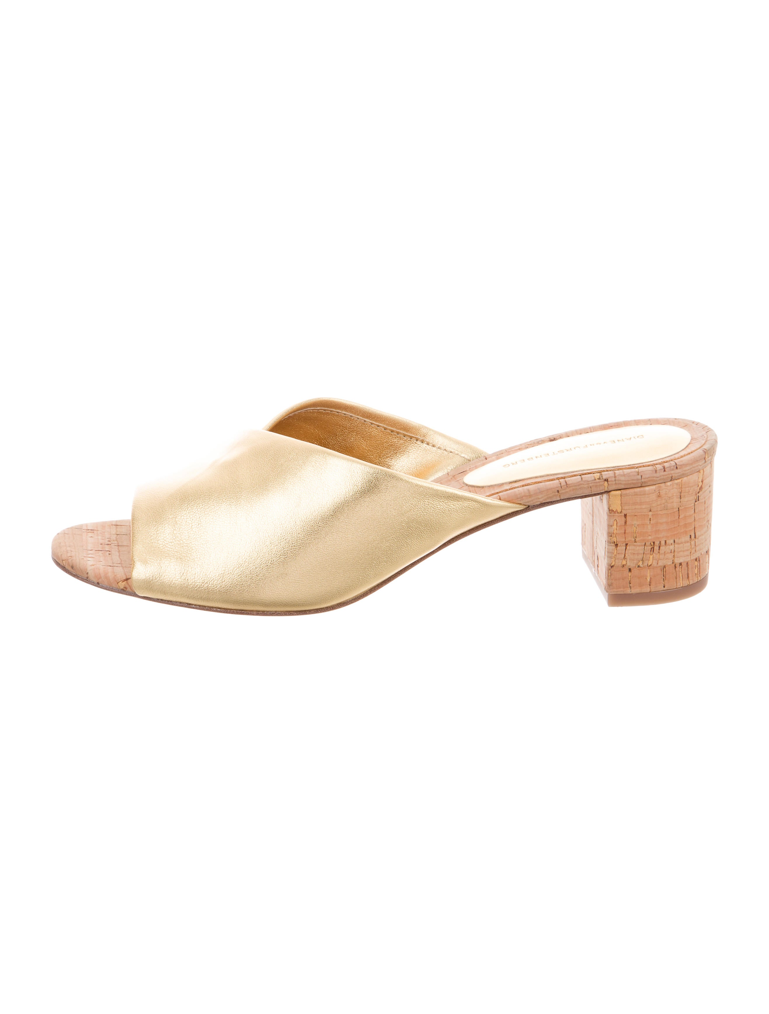 outlet locations for sale Diane von Furstenberg Metallic Slide Sandals w/ Tags outlet find great huge surprise for sale purchase sale online kNXTHG
