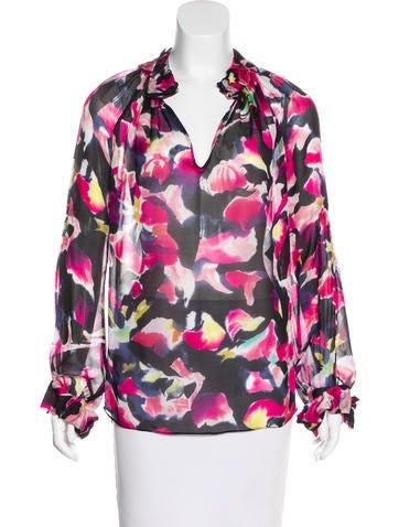 Diane von Furstenberg Floral Print Silk Top None
