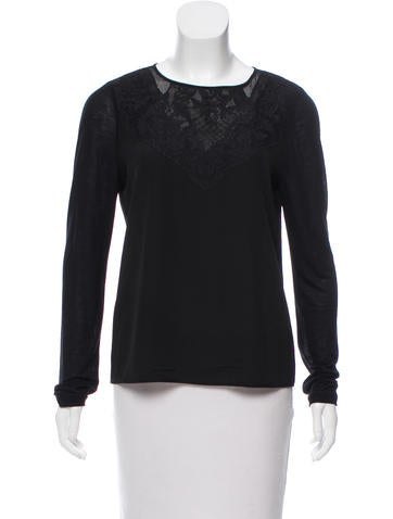 Diane von Furstenberg Long Sleeve Lace-Accented Top None