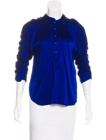 Diane von Furstenberg Silk Button-Up Top None