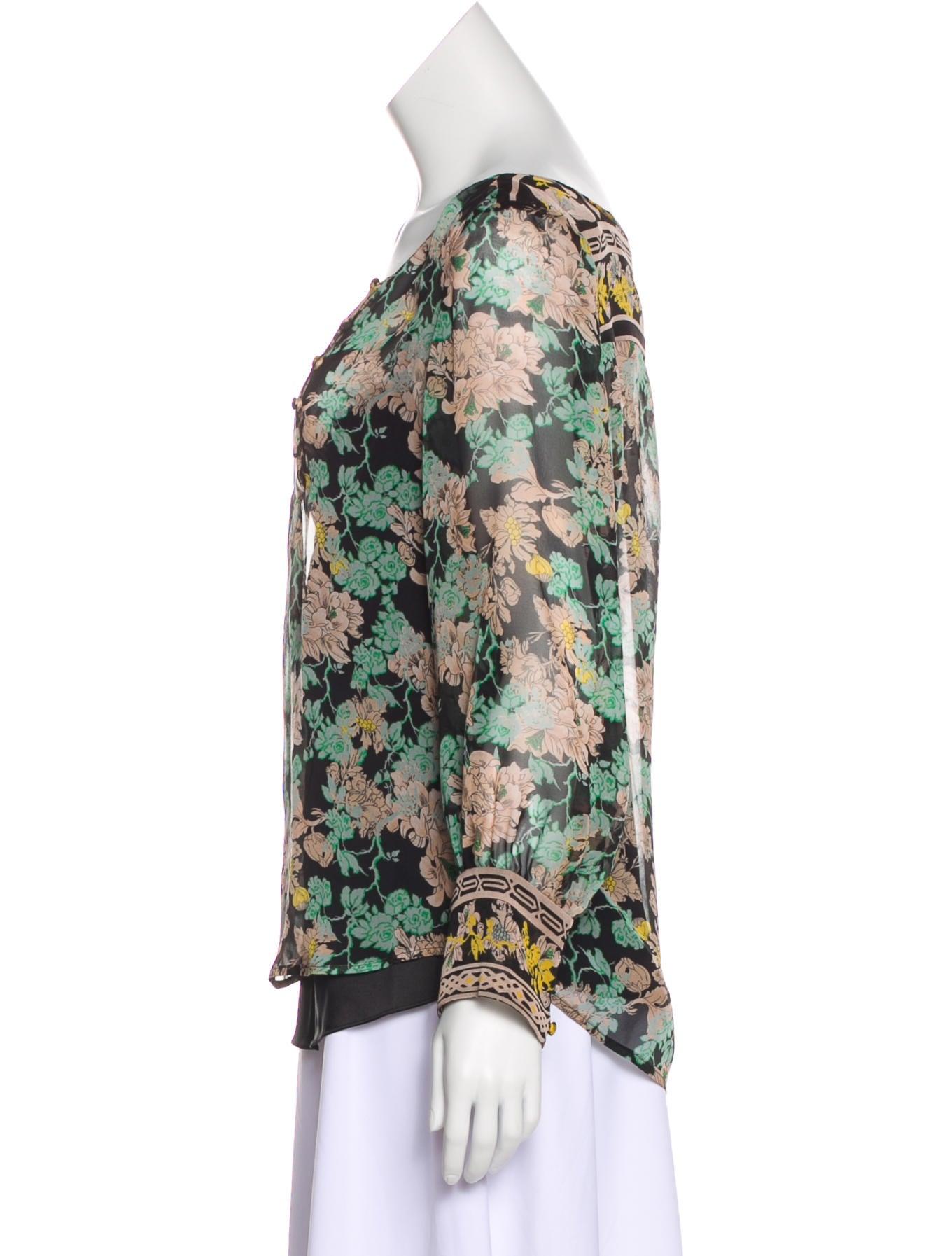 Diane Von Furstenberg Laos Silk Floral Blouse Clothing Wdi130457