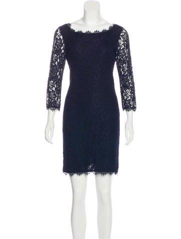 Diane von Furstenberg Lace-Accented Mini Dress None