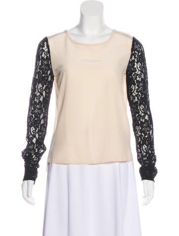 Diane von Furstenberg Lace-Accented Silk Top None