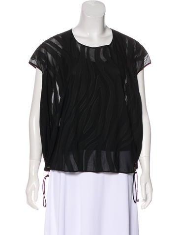 Diane von Furstenberg Short Sleeve Semi-Sheer Top None