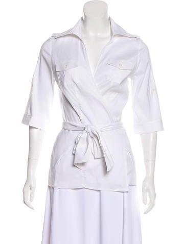 Diane von Furstenberg Short Sleeve Wrap Top None