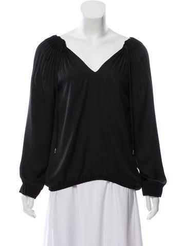 297d07dcf9a5 Diane von Furstenberg. Pleated Long Sleeve Top. Size  US 2