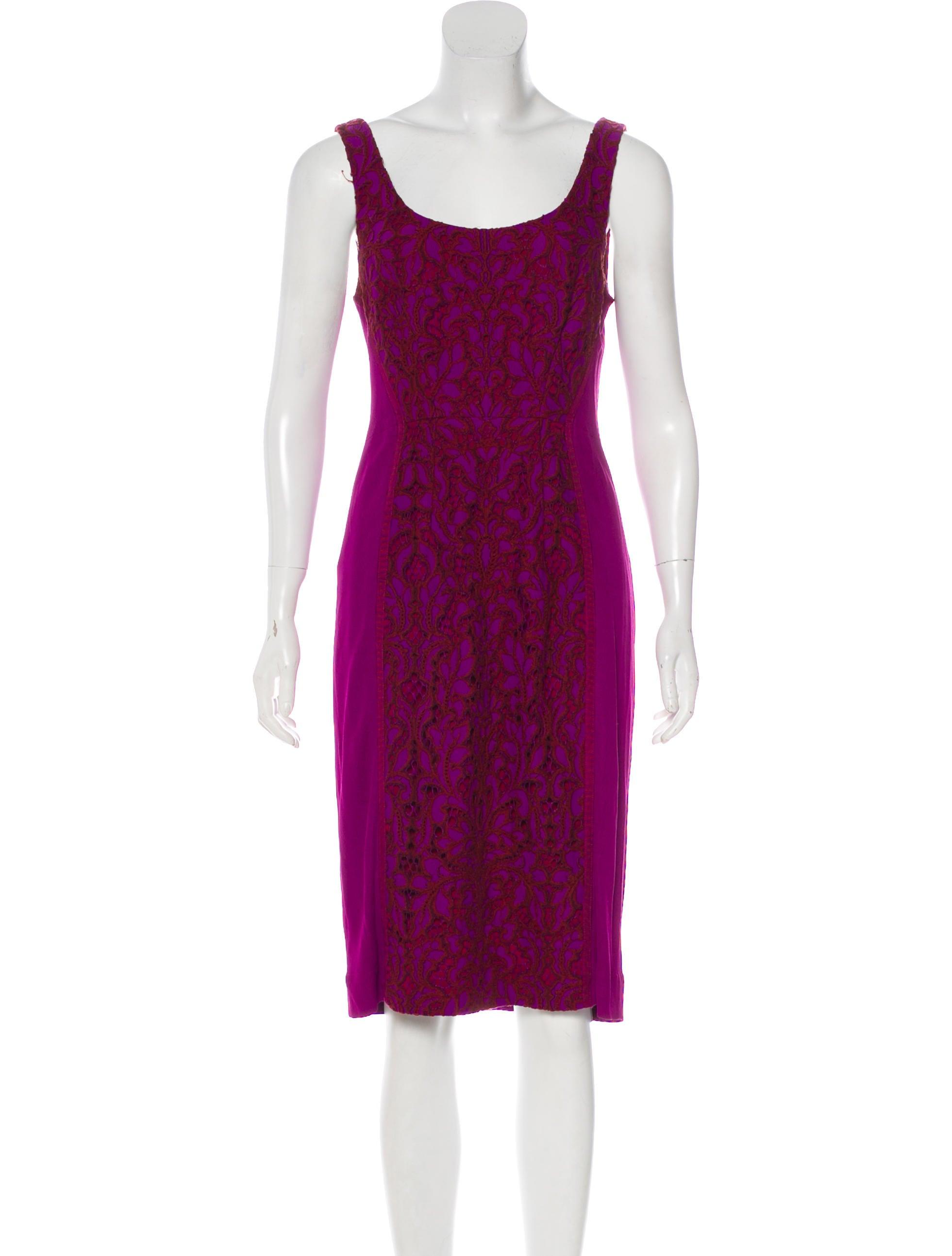 ab87f68c5957f Diane von Furstenberg Lace Knee-Length Dress - Clothing - WDI141739 ...