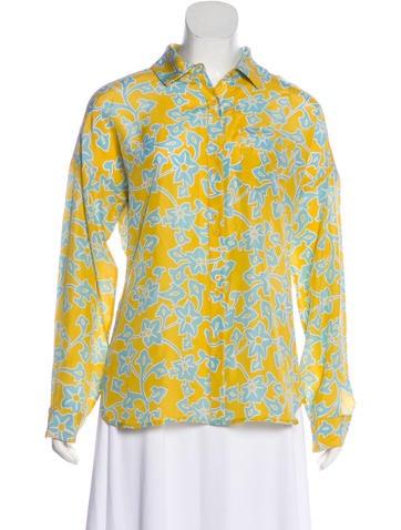 59522263cd48 Diane von Furstenberg. Printed Long Sleeve Top