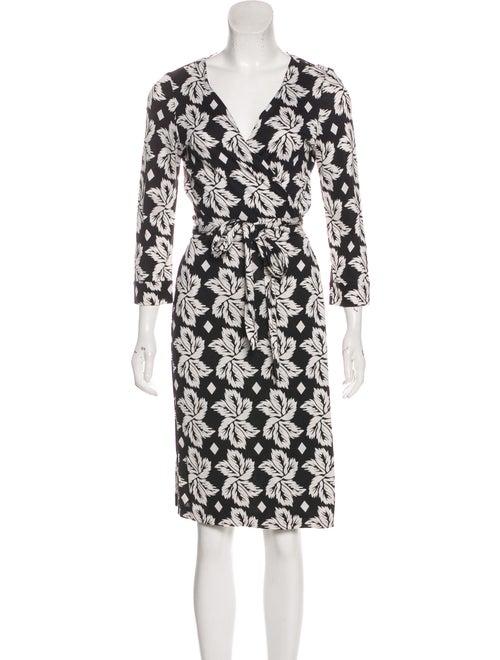 Diane von Furstenberg Silk Printed Wrap Dress Blac