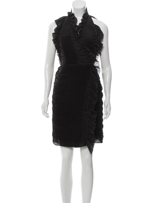 Diane von Furstenberg Plisse Wrap Dress Black