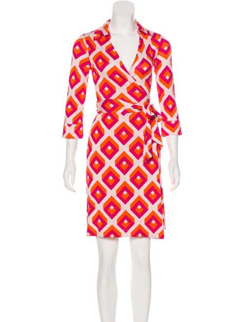 Diane von Furstenberg Printed Wrap Dress Orange