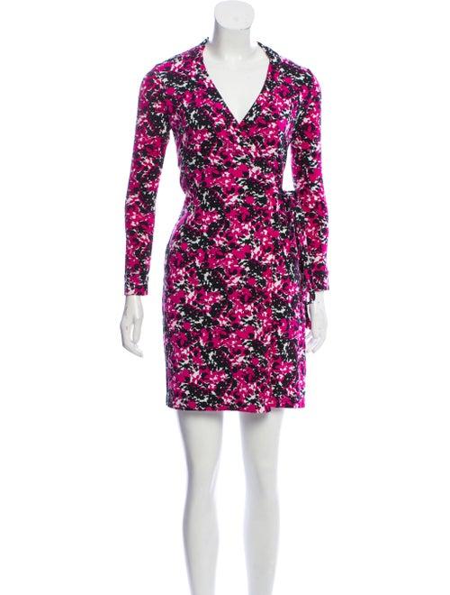 Diane von Furstenberg Printed Wrap Dress Magenta