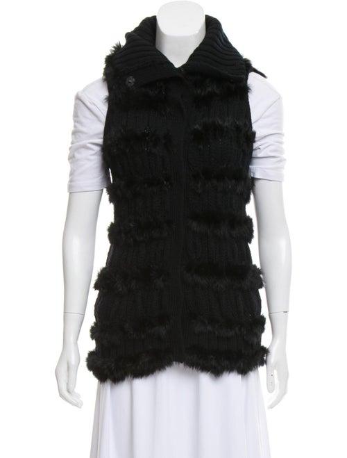 Diane von Furstenberg Fur-Trimmed Wool Vest Black