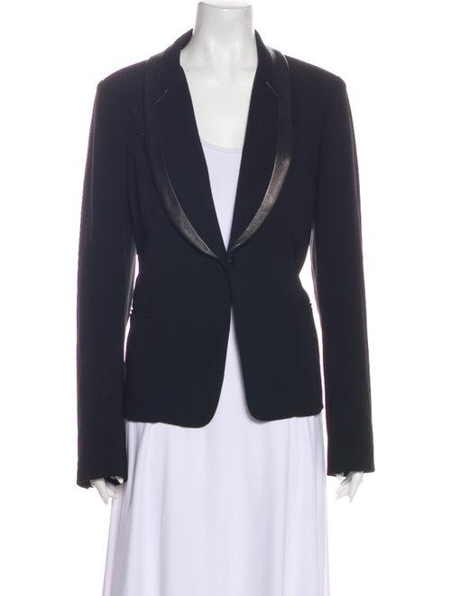 Diane von Furstenberg Leather-Trimmed Blazer Black