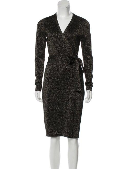 Diane von Furstenberg Metallic Wrap Dress Black