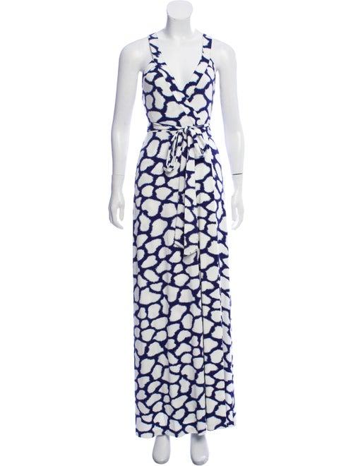Diane von Furstenberg Printed Maxi Dress Navy