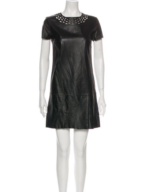 Diane von Furstenberg Leather Mini Dress Black
