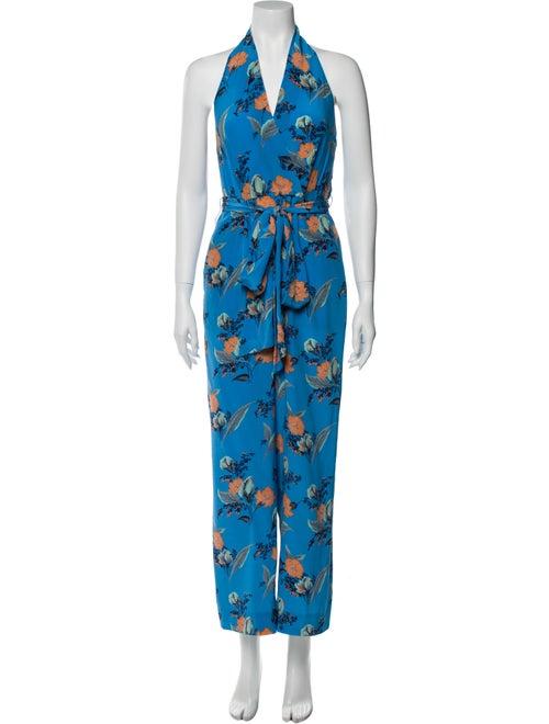Diane von Furstenberg Silk Floral Print Jumpsuit B