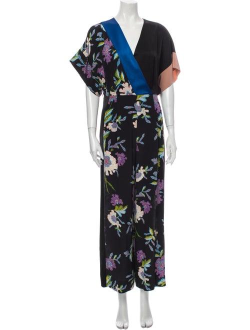 Diane von Furstenberg Silk Printed Jumpsuit Black