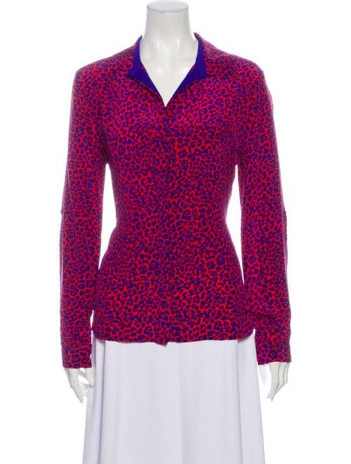 Diane von Furstenberg Silk Animal Print Button-Up