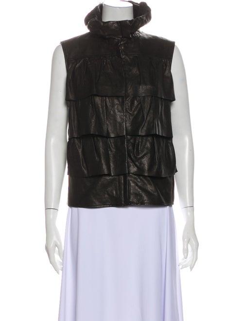 Diane von Furstenberg Leather Vest Black