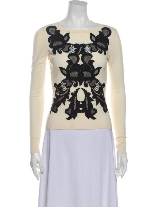 Diane von Furstenberg Merino Wool Lace Pattern Swe